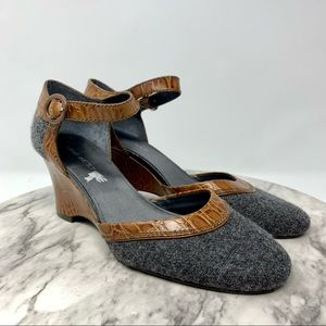 Nine West Butterfly tweed wool wedge MJ 8.5 croc